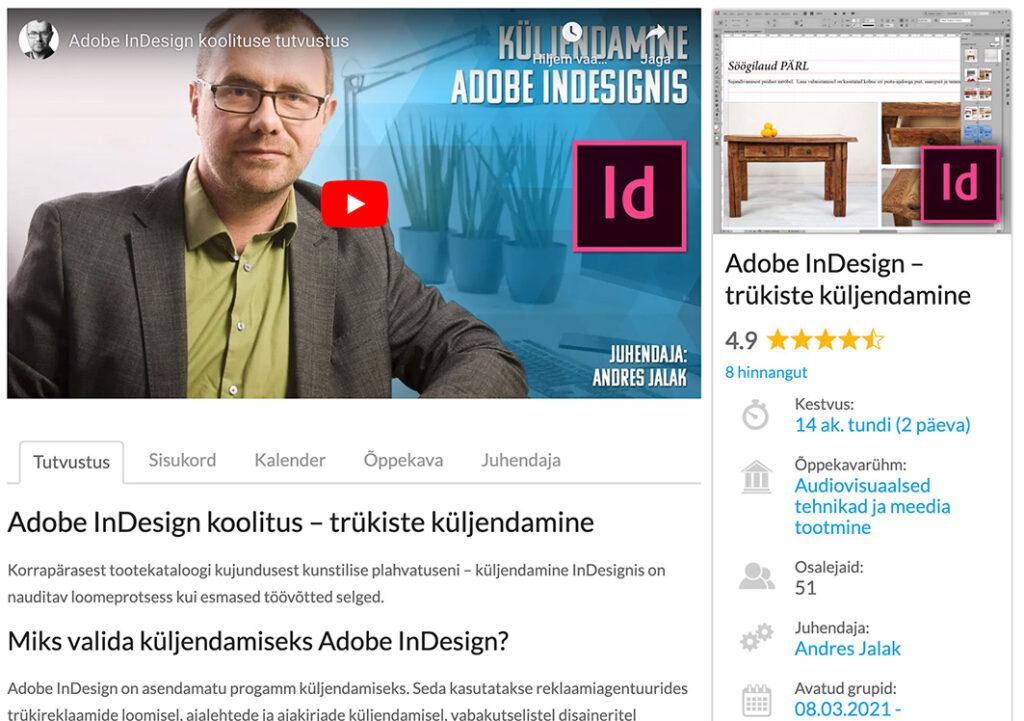 Adobe Indesign küljendamise koolitus