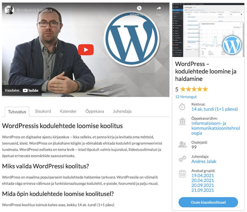 wordpressi koolitus